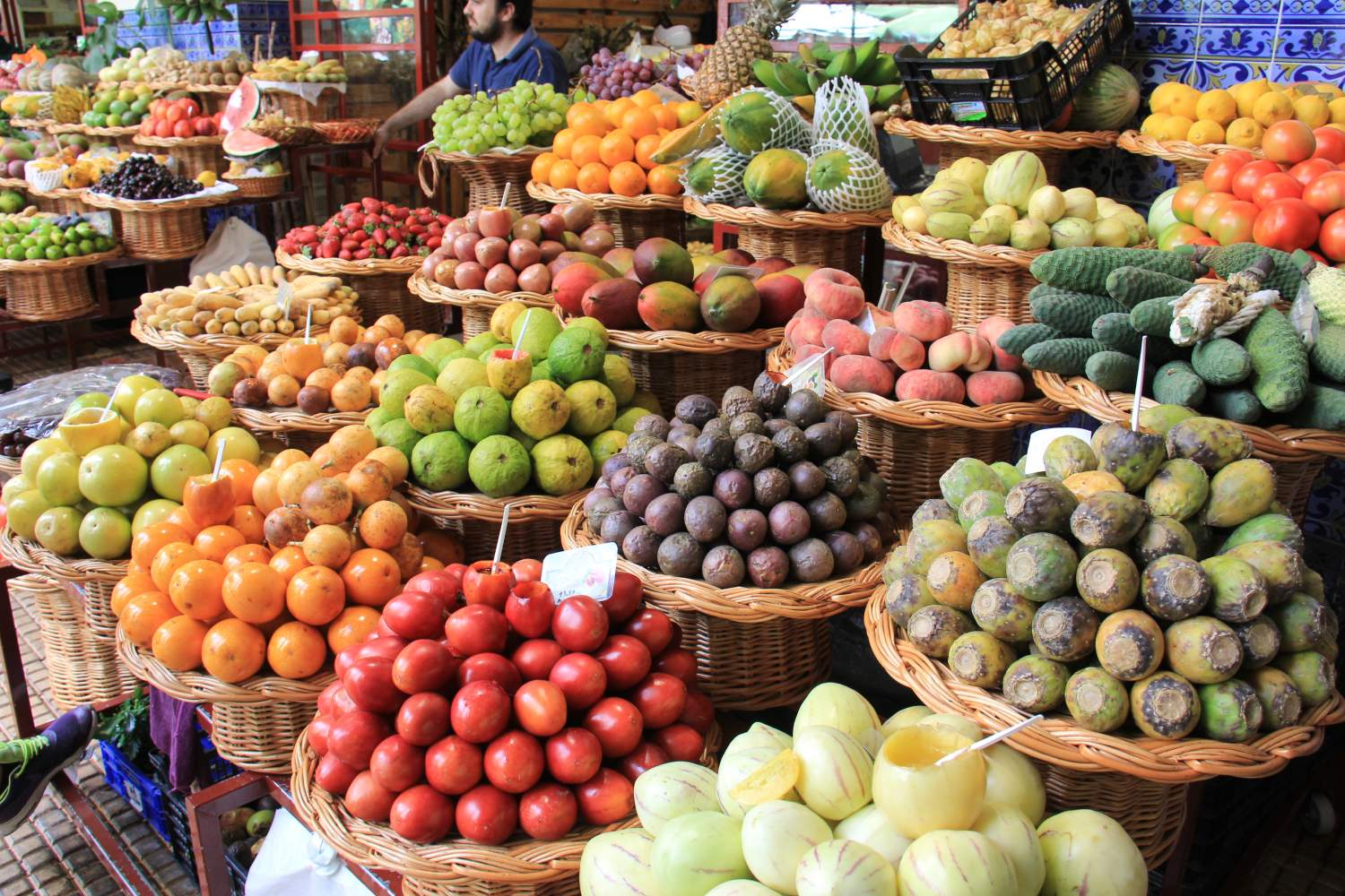 Exotic fruit stand in Madeira island